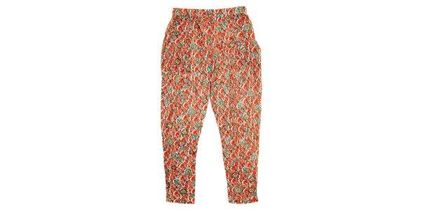 Dětské červené kalhoty s barevnými vzory Peace&Love
