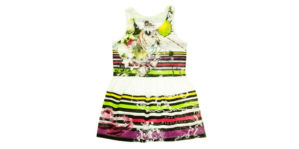 Dětské pruhované šaty s bílým pasem Peace&Love