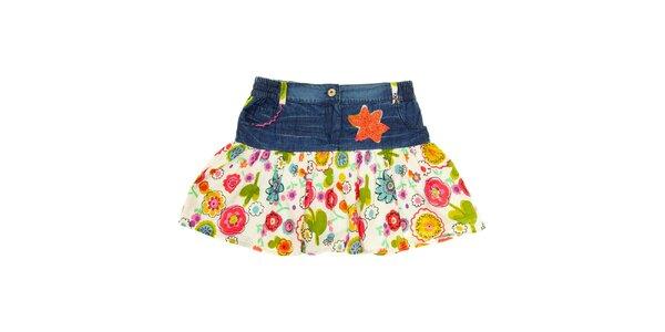 Dětská bílá sukně s květinami a denimovým lemem Peace&Love