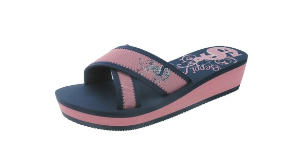 Dámské modro-růžové pantofle s potiskem Beppi