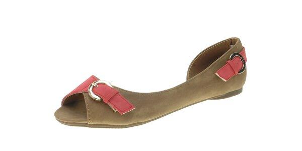 Dámské hnědé sandály Beppi s růžovými pásky
