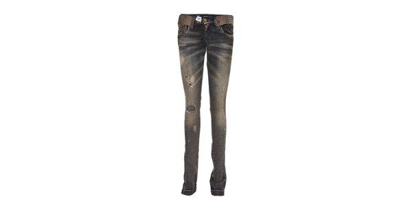 Dámské šedomodré džíny Miss Sixty s páskem a módním roztrháním