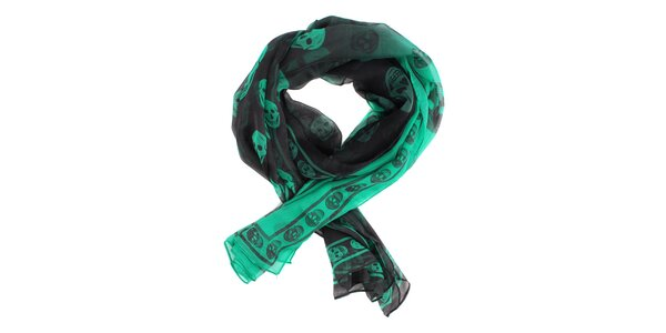 Dámský černo-zelený hedvábný šál