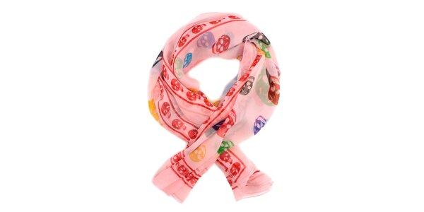 Dámský světle růžový hedvábný šál Alexander McQueen s lebkami