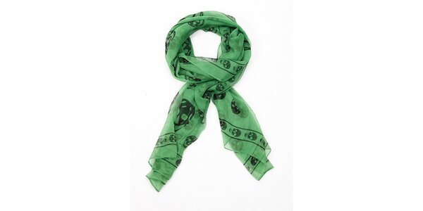 Dámský zelený hedvábný šál Alexander McQueen s lebkami