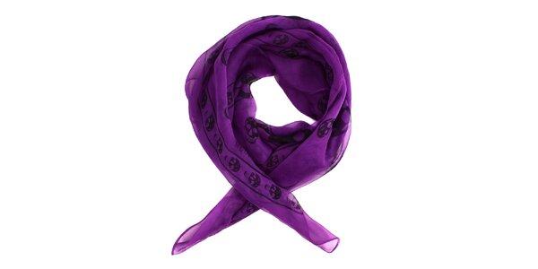 Dámský purpurový hedvábný šál Alexander McQueen s lebkami