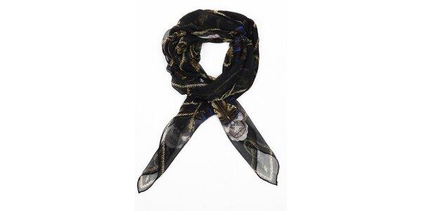 Dámský černý hedvábný šál Alexander McQueen s motýly a lebkami