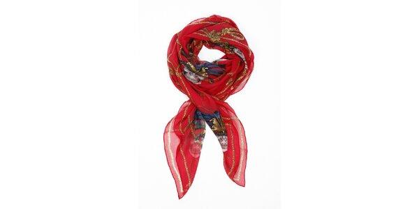 Dámský sytě červený hedvábný šál Alexander McQueen s motýly a lebkami