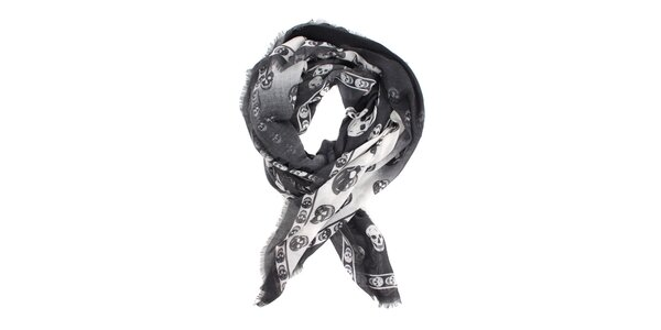 Dámský černo-bílý kašmírový šál Alexander McQueen s lebkami