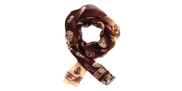 Dámský kávovo-krémový hedvábný šál