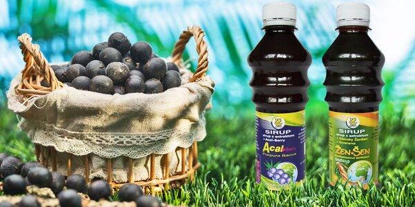Zdraví prospěšné sirupy s extraktem Açai či sibiřským ženšenem a guaranou