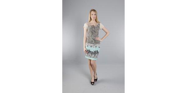 Dámské béžovo-tyrkysové šaty Via Bellucci s potiskem