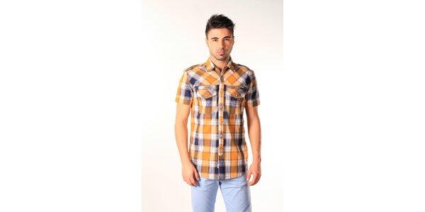 Pánská modro-oranžová kostkovaná košile SixValves