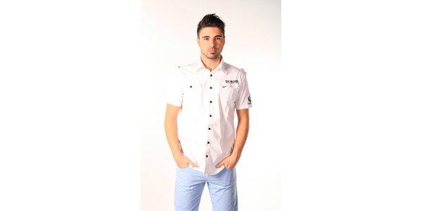 Pánská bílá košile s černými knoflíky SixValves