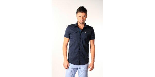 Pánská tmavě modrá bavlněná košile s krátkým rukávem SixValves