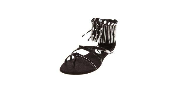 Dámské černé sandále Miss Sixty s kovovými řetízky
