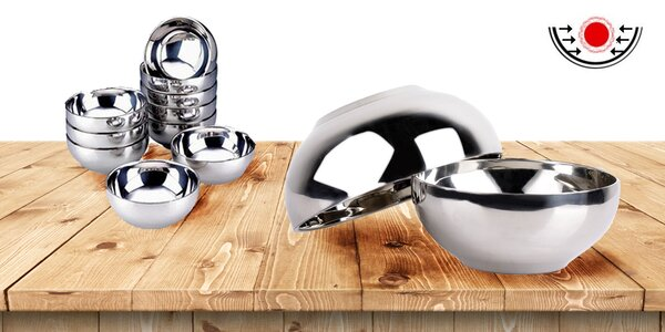 Designové dvojstěnné nerezové misky a mísy