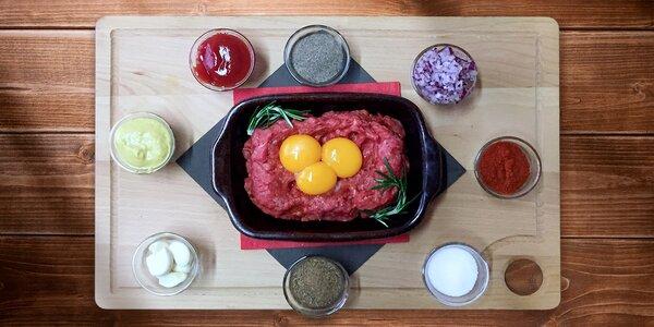 400g tatarského bifteku + 20 topinek