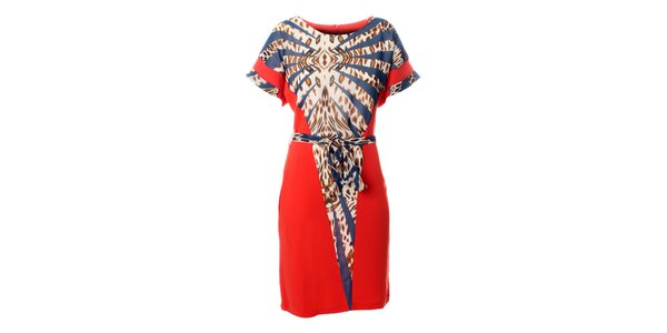 Dámské korálově růžové šaty Via Bellucci s modro-hnědým leopardím vzorem