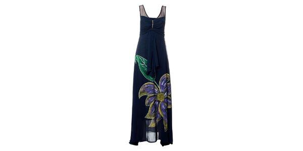 Dámské tmavě modré dlouhé šaty s výraznou květinou Via Belucci