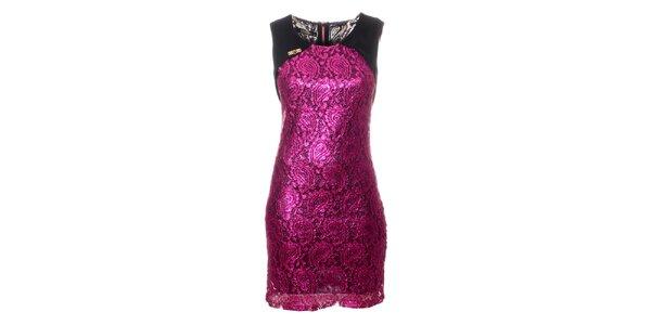 Dámské purpurové krajkové šaty Via Bellucci