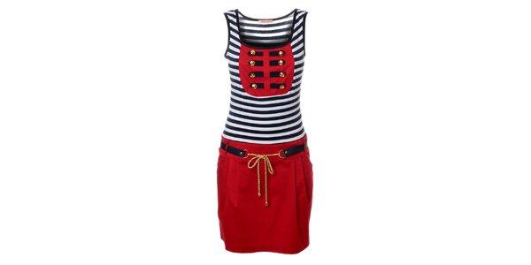 Dámské červeno-modro-bílé šaty s prvky uniformy Via Bellucci