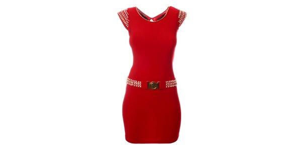 Dámské červené šaty Via Bellucci s perlami