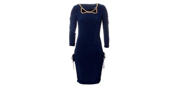 Dámské tmavě modré šaty Via Bellucci se zlatými korály