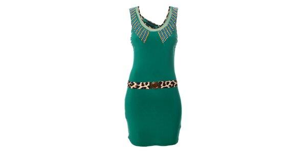Dámské tyrkysové šaty Via Bellucci s korálkovým límcem