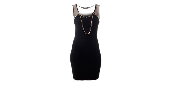 Dámské černé šaty Via Bellucci se zlatým řetízkem