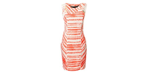 Dámské bílo-růžové proužkované šaty Via Belluci