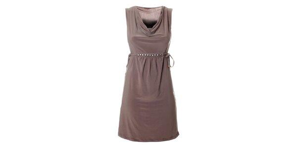 Dámské béžové šaty Via Bellucci s korálky