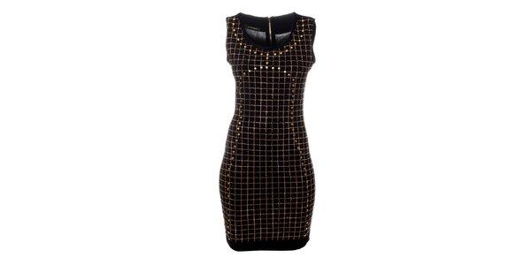 Dámské černé šaty Via Bellucci se zlatými cvoky