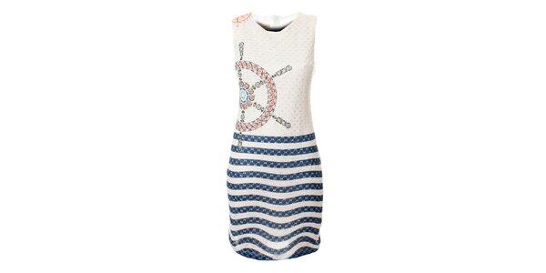 Dámské bílo-modré krajkové šaty Via Bellucci s kormidlem