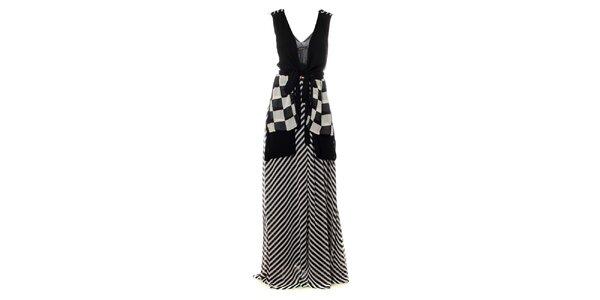 Dámské černo-bílé maxi šaty s šachovnicovými cípy Via Bellucci