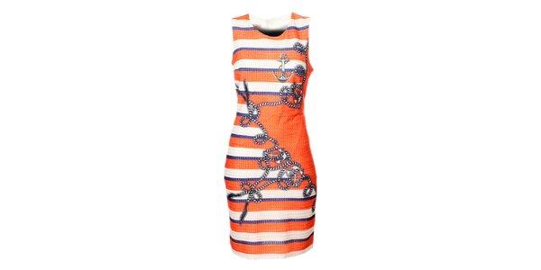 Dámské bílo-červené šaty Via Belluci s námořnickým potiskem