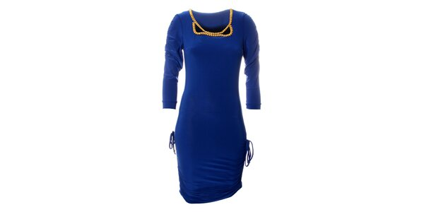 Dámské zářivě modré šaty Via Bellucci se zlatými korály