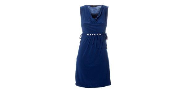 Dámské modré šaty Via Bellucci s korálky