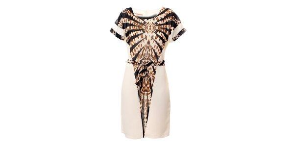 Dámské bílé šaty Via Bellucci s leopardím vzorem