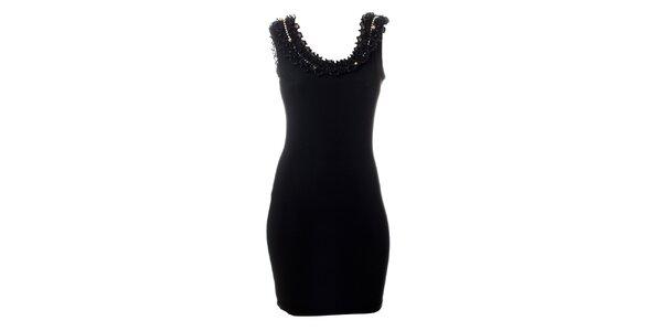 Dámské černé šaty Via Bellucci s kanýrovým lemem