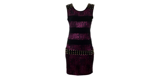 Dámské purpurové krajkové šaty Via Bellucci se zlatými cvoky