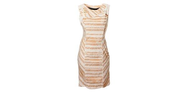 Dámské bílo-hnědé proužkované šaty Via Belluci