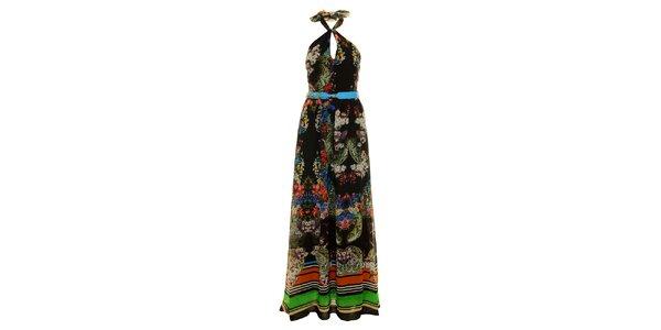 Dámské dlouhé černé šaty Via Bellucci s květinovým potiskem