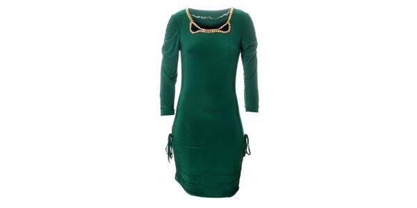 Dámské zelené šaty Via Bellucci se zlatými korály