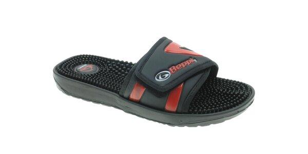 Pánské černo-červené pantofle s masážními výstupky Beppi