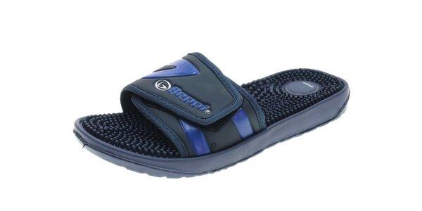 Pánské černo-modré pantofle s masážními výstupky Beppi