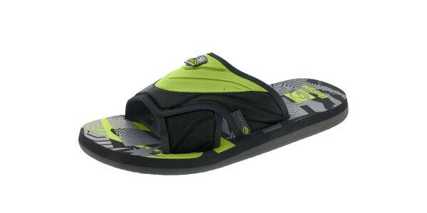 Pánské černo-zelené pantofle Beppi
