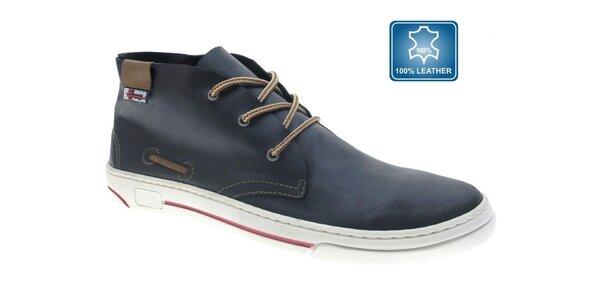 Pánské kožené temně modré kotníkové boty Beppi