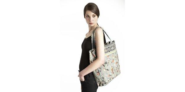 Dámská zelená taška s potiskem ptáčků Uttam Boutique