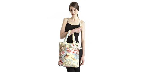 Dámská modro-žluto-růžová taška s lotosovými květy Uttam Boutique